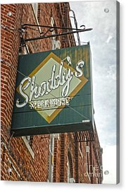Shaddys Steakhouse Sign Montezuma Iowa Acrylic Print by Gregory Dyer