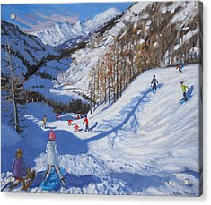 Shadow Of A Fir Tree And Skiers At Tignes Acrylic Print by Andrew Macara