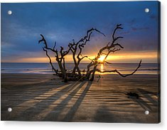 Shadows On The Sand Acrylic Print by Debra and Dave Vanderlaan