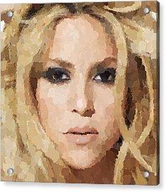 Shakira Portrait Acrylic Print by Samuel Majcen