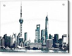 Shanghai Skyline Acrylic Print by Celestial Images
