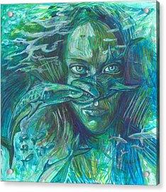Shark Attack Acrylic Print by Elizabeth D'Angelo
