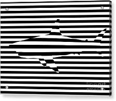Shark Optical Illusion Acrylic Print by Pixel Chimp