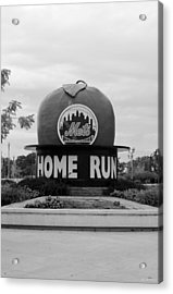 Shea Stadium Home Run Apple In Black And White Acrylic Print by Rob Hans