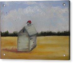 Shed On Yellow Field Acrylic Print by Iris Nazario Dziadul