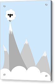 Sheep On Top Of A Mountain Acrylic Print by Christy Beckwith