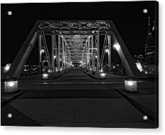 Shelby Avenue Bridge In Black And White Acrylic Print by Dan Sproul