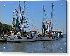 Shem Creek Shrimpers Acrylic Print by Suzanne Gaff