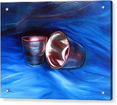 Shiny Metal Cups Study Acrylic Print by LaVonne Hand