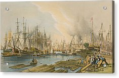 Ship Building At Limehouse Acrylic Print by William Parrot