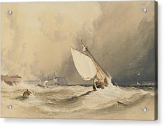 Ships At Sea Off Folkestone Harbour Storm Approaching Acrylic Print by Anthony Vandyke Copley Fielding