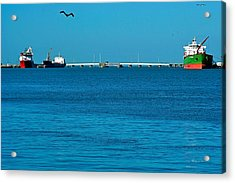 Ships  In Harbor Acrylic Print by Robert Brown