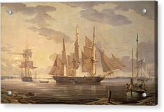 Ships In Harbor Signed And Dated Lower Right R Acrylic Print by Litz Collection