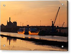 Ships Moored At The New Docking Acrylic Print by Panoramic Images