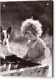 Shirley Temple And Dog - Sepia Acrylic Print by MMG Archives