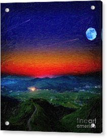 Shooting Stary Night Art Acrylic Print by Celestial Images