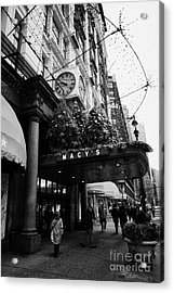 shoppers walk past entrance to Macys department store on Broadway and 34th street at Herald square Acrylic Print by Joe Fox