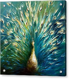 Show Off 3 White Peacock Acrylic Print by Dina Dargo