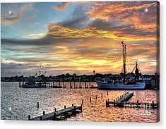 Shrimp Boats At Sunset Acrylic Print by Benanne Stiens