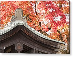 Shrine Roof And Autumn Leaves Arashiyama Kyoto Acrylic Print by Colin and Linda McKie
