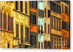 Shuttered Windows Of Florence Acrylic Print by Mike Nellums