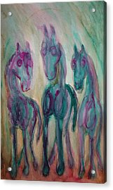 Green Horses Are Shy But Curious  Acrylic Print by Hilde Widerberg