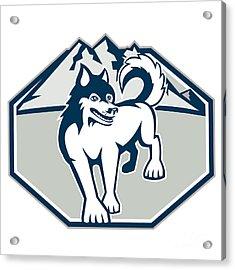 Siberian Husky Dog Mountain Retro Acrylic Print by Aloysius Patrimonio