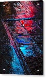 Sidewalk Reflections Acrylic Print by Garry Gay