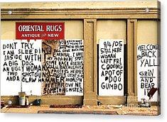 Sign Of Distress Post Hurricane Katrina Message Acrylic Print by Michael Hoard