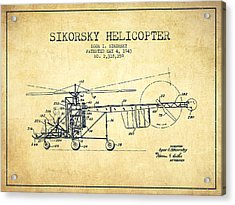 Sikorsky Helicopter Patent Drawing From 1943-vintgae Acrylic Print by Aged Pixel