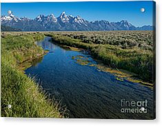 Silent Pathway To The Grand Tetons Acrylic Print by Sandra Bronstein