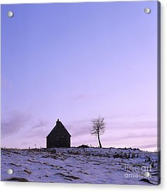 Silhouette Of A Farm And A Tree. Cezallier. Auvergne. France Acrylic Print by Bernard Jaubert