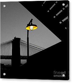 Silhouette Of Brooklyn Bridge New York City Acrylic Print by Sabine Jacobs
