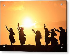 Silhouette Of Hula Dancers At Sunrise Acrylic Print by Panoramic Images