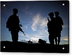 Silhouette Of Modern Soldiers  Acrylic Print by Matthew Gibson