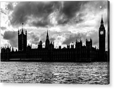 Silhouette Of  Palace Of Westminster And The Big Ben Acrylic Print by Semmick Photo