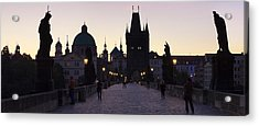 Silhouette Of Statues On Charles Bridge Acrylic Print by Panoramic Images