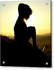 Silhouetted Child Acrylic Print by Mr Doomits