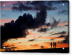 Silhouettes Of Three Girls Walking In The Sunset Acrylic Print by Fabrizio Troiani