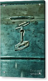 Silver Box With Key In The Lock Acrylic Print by HD Connelly