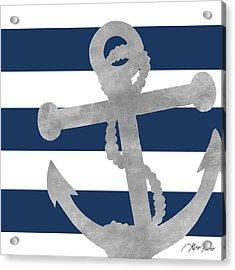 Silver Coastal On Blue Stripe I Acrylic Print by Gina Ritter
