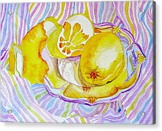 Silver Plate With Lemons Acrylic Print by Elena Mahoney