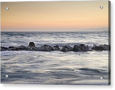 Silver Sea At Sunset Acrylic Print by Guido Montanes Castillo