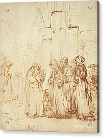 Simeon And Jesus In The Temple Acrylic Print by Rembrandt Harmenszoon van Rijn