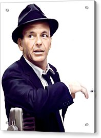 Sinatra.  Frank Sinatra Acrylic Print by Iconic Images Art Gallery David Pucciarelli