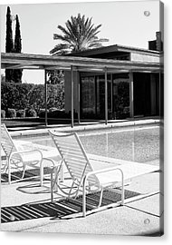 Sinatra Pool Bw Palm Springs Acrylic Print by William Dey