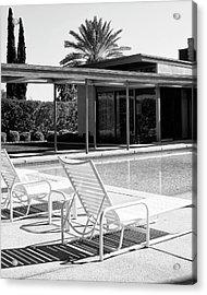 Sinatra Pool Bw Palm Springs Acrylic Print by William Dey