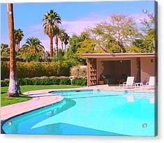 Sinatra Pool Cabana Palm Springs Acrylic Print by William Dey
