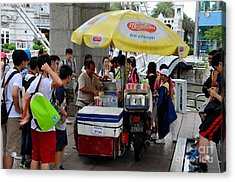 Singapore Ice Cream Man And Bicycle Swamped By Students Acrylic Print by Imran Ahmed