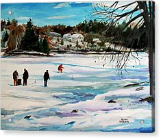 Singeltary Lake Ice Fishing Acrylic Print by Scott Nelson